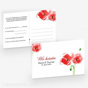 Antwortpostkarte Mohnblumen 15 x 10 cm
