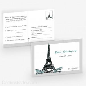Antwortpostkarte Pariser Chic 15 x 10 cm