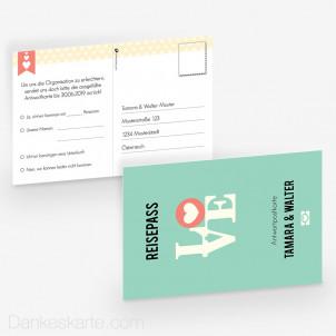 Antwortpostkarte Reisepass 15 x 10 cm