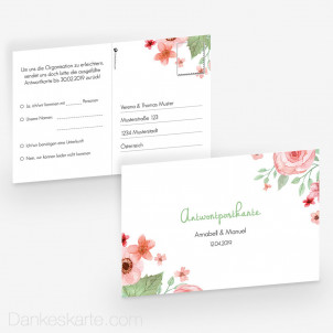 Antwortpostkarte Total Floral 15 x 10 cm