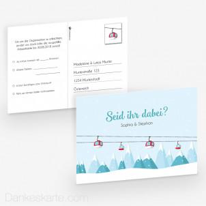 Antwortpostkarte Pocketfold Winterhochzeit 14 x 10 cm