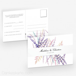 Antwortpostkarte Lavendel Zweige 15 x 10 cm