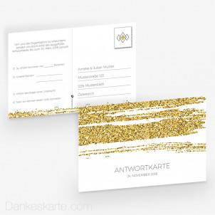 Antwortpostkarte Golden Glitter 15 x 10 cm