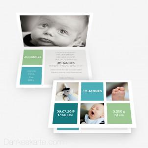Geburtskarte Aquatöne 15 x 10 cm Vertikalklappkarte