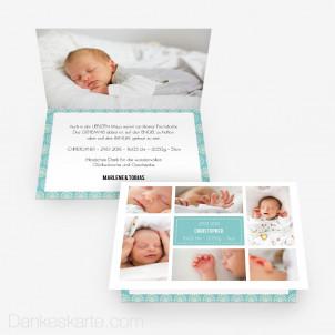 Geburtskarte Bildermeer 15 x 10 cm Vertikalklappkarte