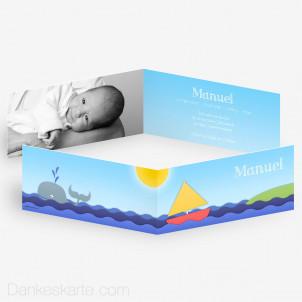 Geburtskarte Boot und Wal 21 x 10 cm