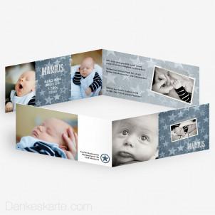 Babykarte Denim Star 21 x 10 cm
