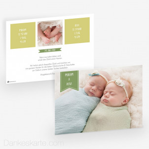 Geburtskarte Doppelte Freude 21 x 15 cm