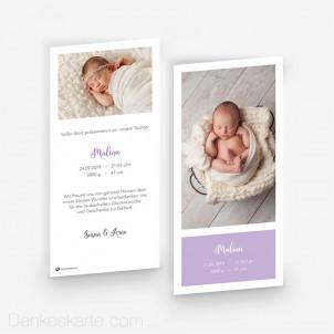Babykarte Farbwahl 10 x 21 cm