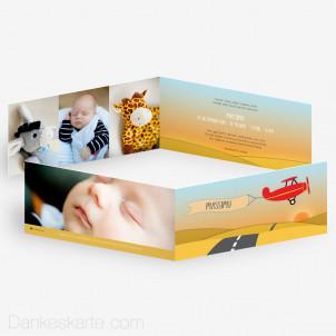 Geburtskarte Flugzeug 21 x 10 cm