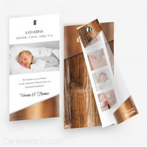 Geburtskarte Glas und Holz mit Fotostreifen 10 x 21 cm