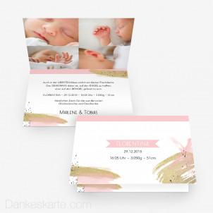 Geburtskarte Goldmariechen 15 x 10 cm Vertikalklappkarte