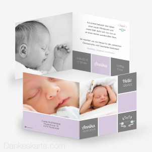 Babykarte Hello Ribbon 14.5 x 14.5 cm