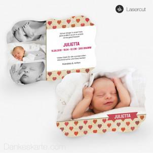 Lasercut-Babykarte Herzensprojekt 21 x 15 cm