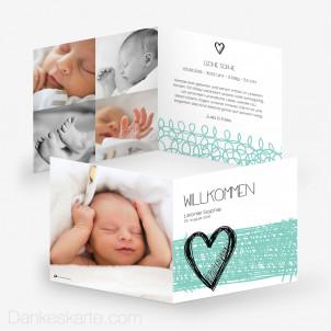 Geburtskarte Herzmalerei 14.5 x 14.5 cm