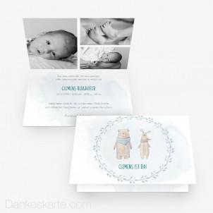 Geburtskarte Kuschelpartie 15 x 10 cm Vertikalklappkarte