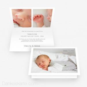 Geburtskarte Minimalistisch 15 x 10 cm Vertikalklappkarte