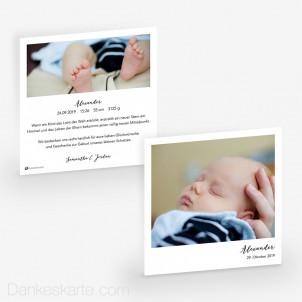 Geburtskarte Polaroid Stil 14.5 x 14.5 cm