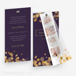 Geburtskarte Purple Gold mit Fotostreifen 10 x 21 cm