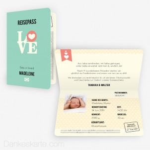 Geburtskarte Reisepass 15 x 10 cm Vertikalklappkarte