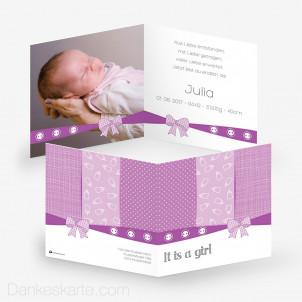 Geburtskarte Schleife Zwei 14.5 x 14.5 cm