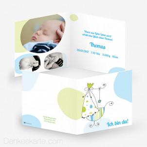 Babykarte Stubenwagen 14.5 x 14.5 cm
