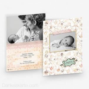 Babykarte Vintage Flower 15 x 21cm