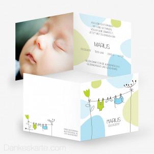 Geburtskarte Wäscheleine 14.5 x 14.5 cm