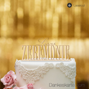 Cake Topper 2-Zeilig personalisiert - Buchenholz - XL