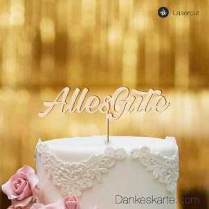 Cake Topper Alles Gute 1 - Buchenholz - XL