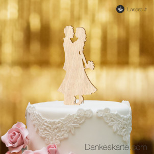 Cake Topper Almost Kiss - Buchenholz - XL