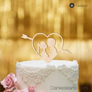 Cake Topper Amor mit Paar - Buchenholz - S