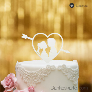 Cake Topper Amor mit Paar - Weiss - S