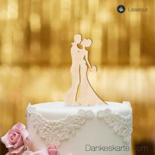 Cake Topper Brautpaar Kuss - Buchenholz - S