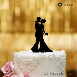Cake Topper Brautpaar Kuss - Schwarz - S