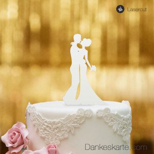 Cake Topper Brautpaar Kuss - Weiss - S