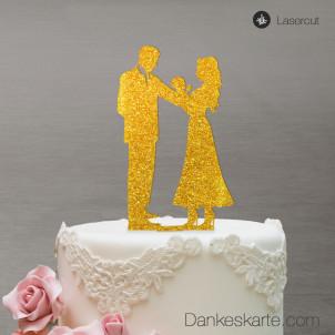 Cake Topper Brautpaar mit Baby - Gold Glitzer