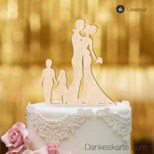 Cake Topper Brautpaar mit Kindern 2 - Buchenholz - XL