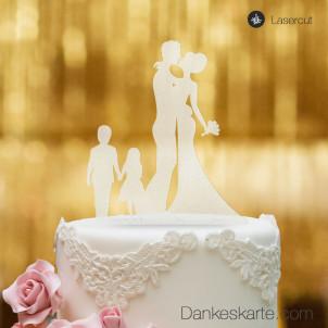 Cake Topper Brautpaar mit Kindern 2 - Satiniert - XL