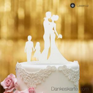 Cake Topper Brautpaar mit Kindern 2 - Weiss - XL