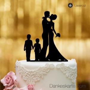Cake Topper Brautpaar mit Kindern Jungen - Schwarz - XL