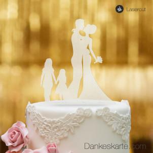 Cake Topper Brautpaar mit Kindern Mädchen - Satiniert - XL