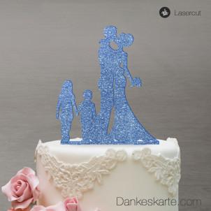 Cake Topper Brautpaar mit Kindern - Blau Glitzer - XL