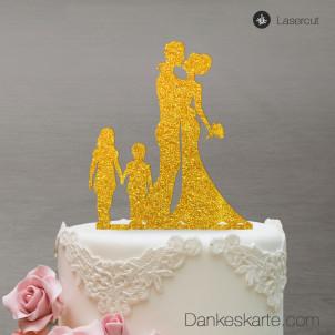 Cake Topper Brautpaar mit Kindern - Gold Glitzer - XL