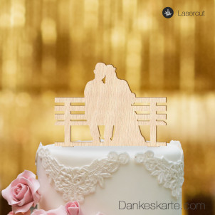 Cake Topper Brautpaar Parkbank - Buchenholz