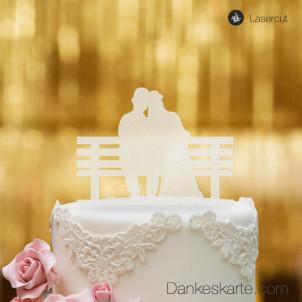 Cake Topper Brautpaar Parkbank - Satiniert
