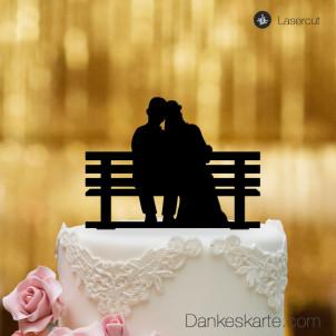 Cake Topper Brautpaar Parkbank - Schwarz