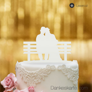 Cake Topper Brautpaar Parkbank - Weiss