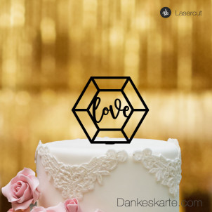 Cake Topper Diamond Love - Schwarz - S