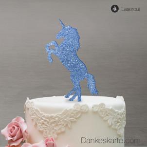 Cake Topper Einhorn - Blau Glitzer